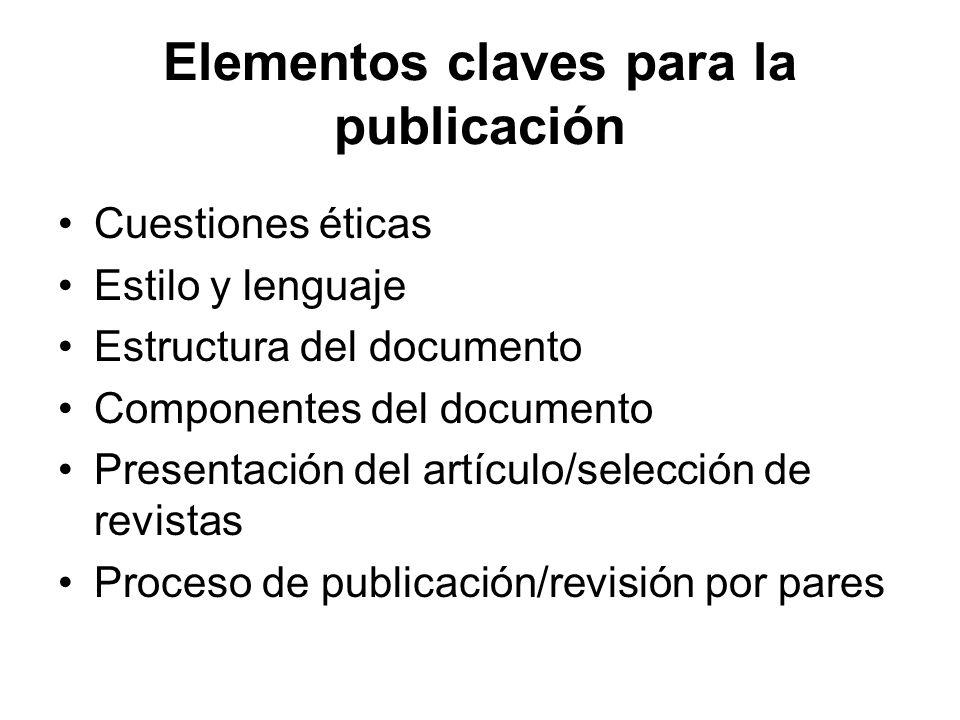 Elementos claves para la publicación
