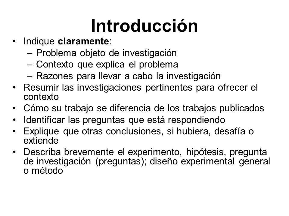 Introducción Indique claramente: Problema objeto de investigación