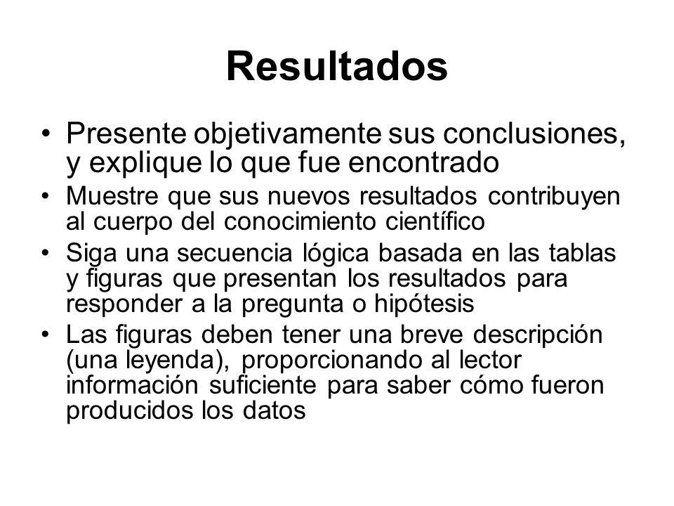 Resultados Presente objetivamente sus conclusiones, y explique lo que fue encontrado.