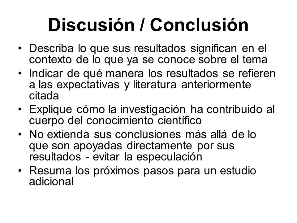 Discusión / Conclusión