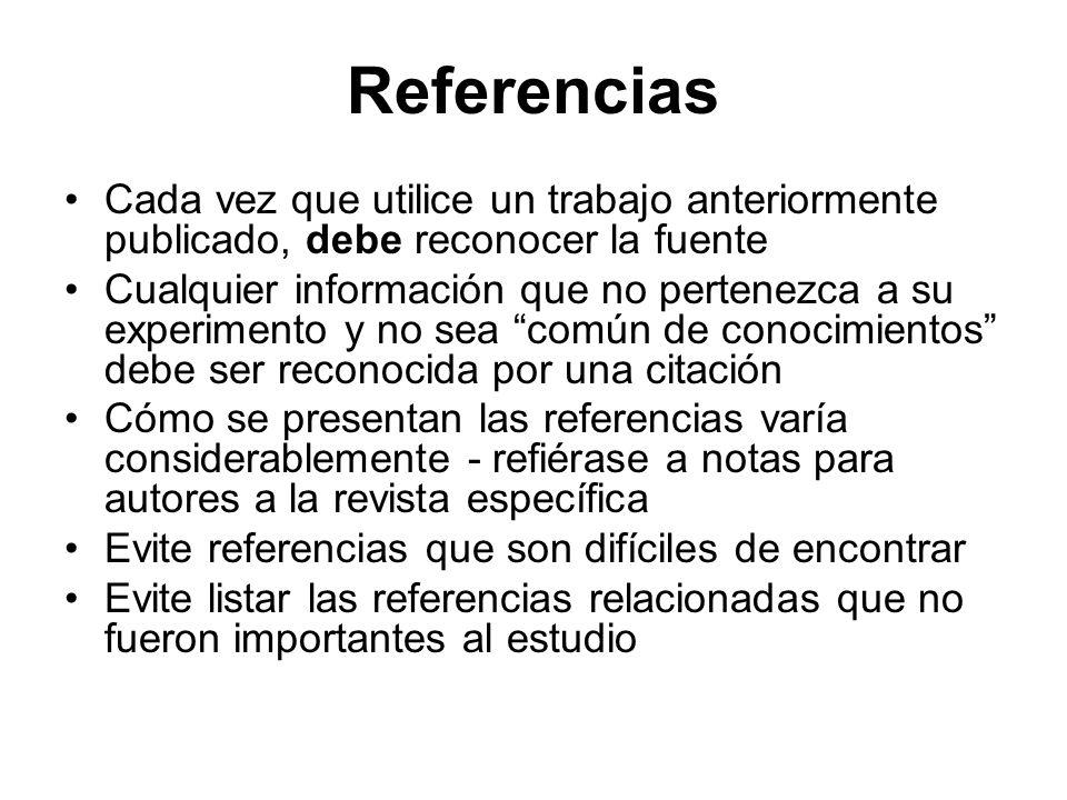 Referencias Cada vez que utilice un trabajo anteriormente publicado, debe reconocer la fuente.