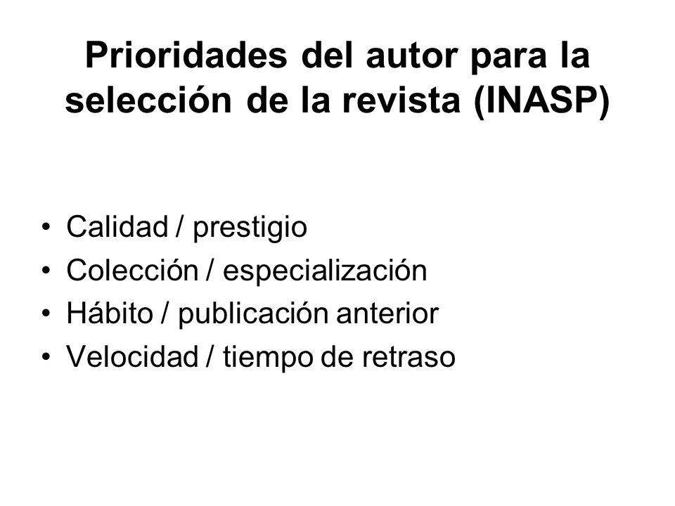 Prioridades del autor para la selección de la revista (INASP)