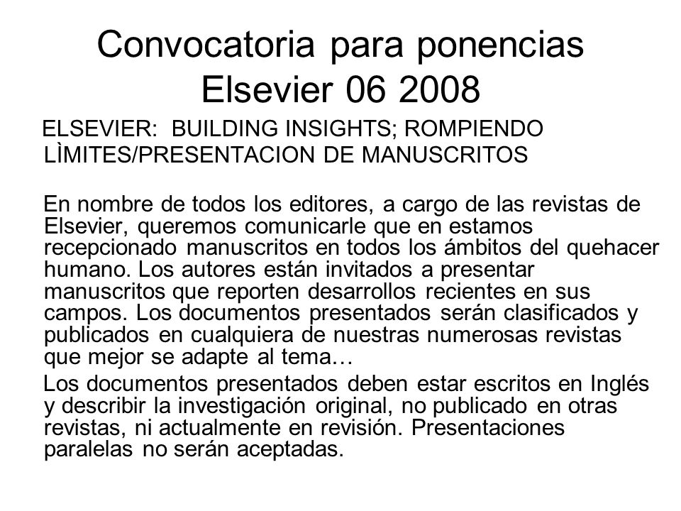 Convocatoria para ponencias Elsevier