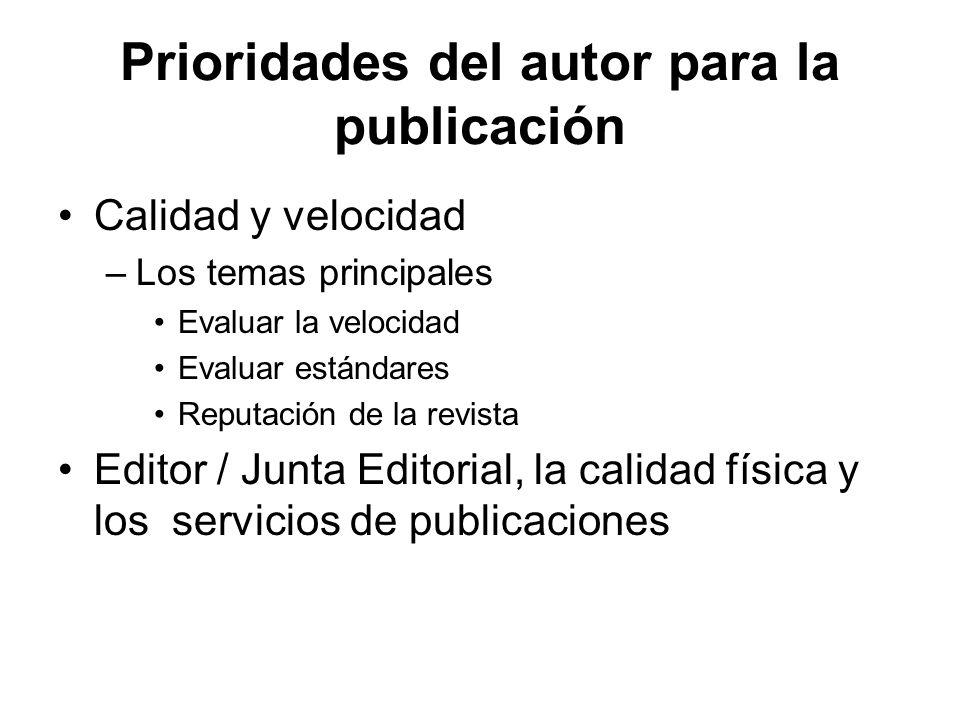 Prioridades del autor para la publicación