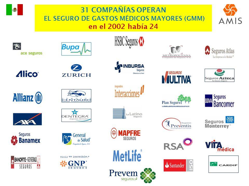 31 COMPAÑÍAS OPERAN EL SEGURO DE GASTOS MÉDICOS MAYORES (GMM) en el 2002 había 24