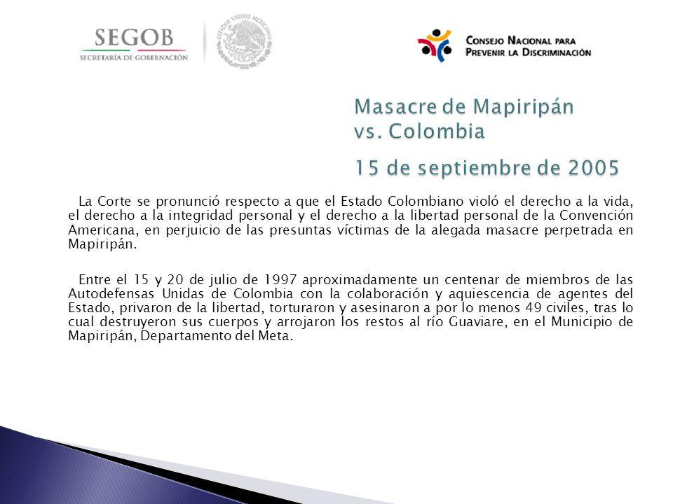 Masacre de Mapiripán vs. Colombia 15 de septiembre de 2005
