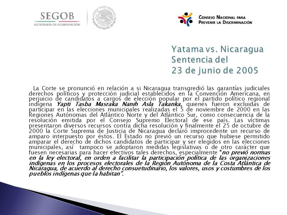 Yatama vs. Nicaragua Sentencia del 23 de junio de 2005