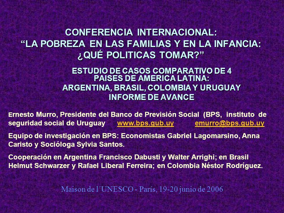 CONFERENCIA INTERNACIONAL: LA POBREZA EN LAS FAMILIAS Y EN LA INFANCIA: ¿QUÉ POLITICAS TOMAR