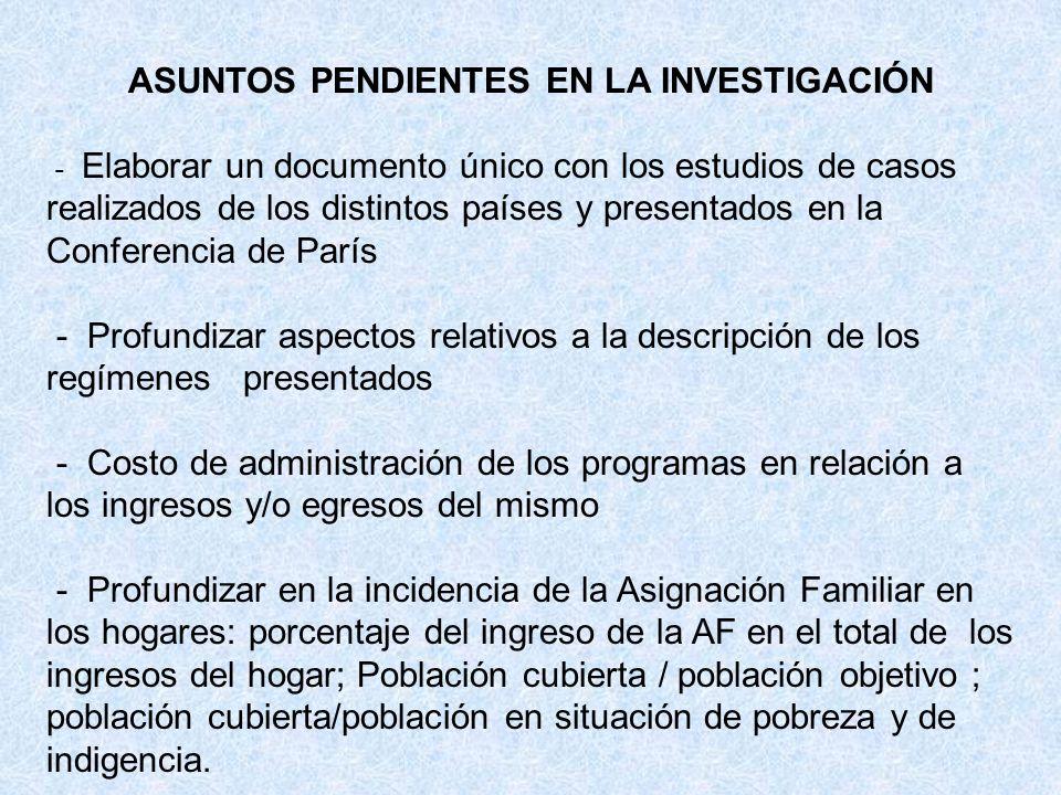 ASUNTOS PENDIENTES EN LA INVESTIGACIÓN