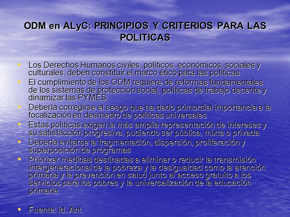 ODM en ALyC: PRINCIPIOS Y CRITERIOS PARA LAS POLITICAS