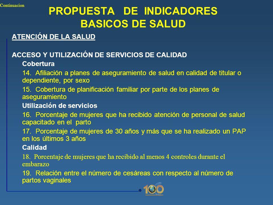PROPUESTA DE INDICADORES BASICOS DE SALUD