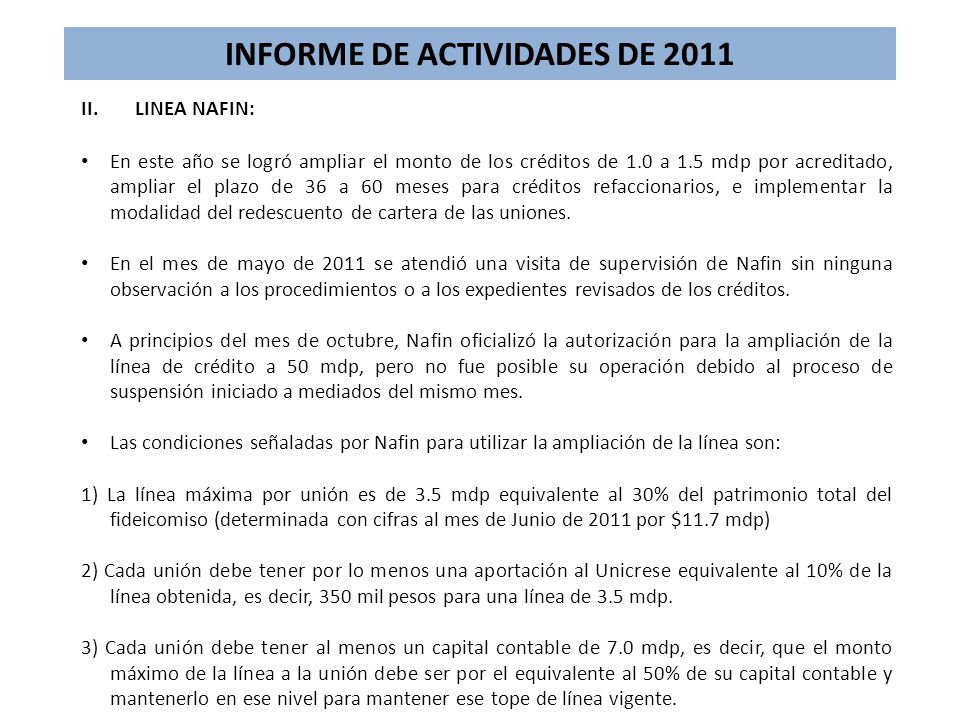 INFORME DE ACTIVIDADES DE 2011