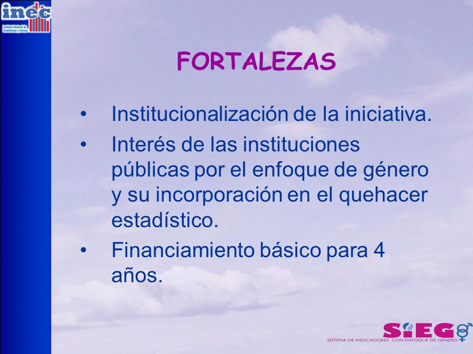 FORTALEZAS Institucionalización de la iniciativa.