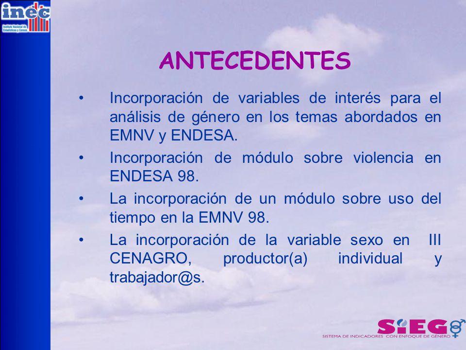 ANTECEDENTES Incorporación de variables de interés para el análisis de género en los temas abordados en EMNV y ENDESA.