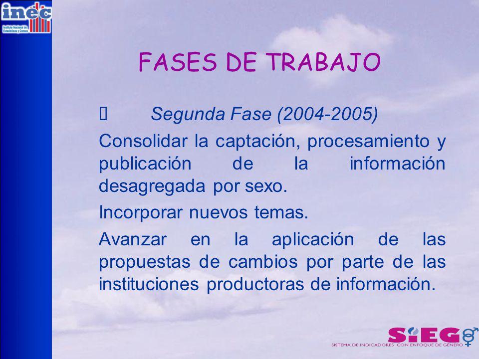 FASES DE TRABAJO Ø Segunda Fase (2004-2005)