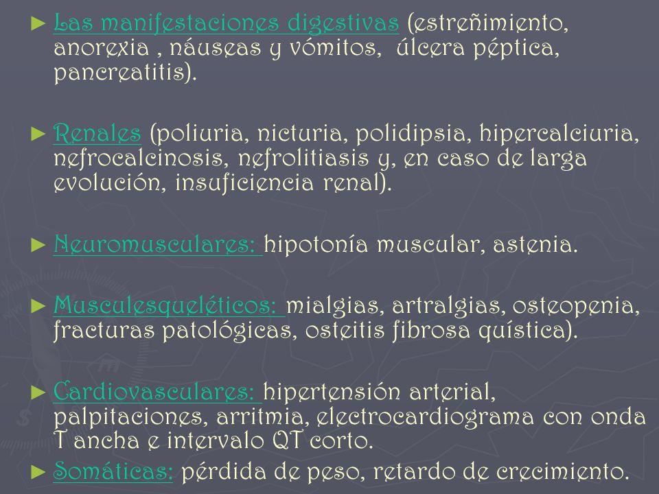 Las manifestaciones digestivas (estreñimiento, anorexia , náuseas y vómitos, úlcera péptica, pancreatitis).