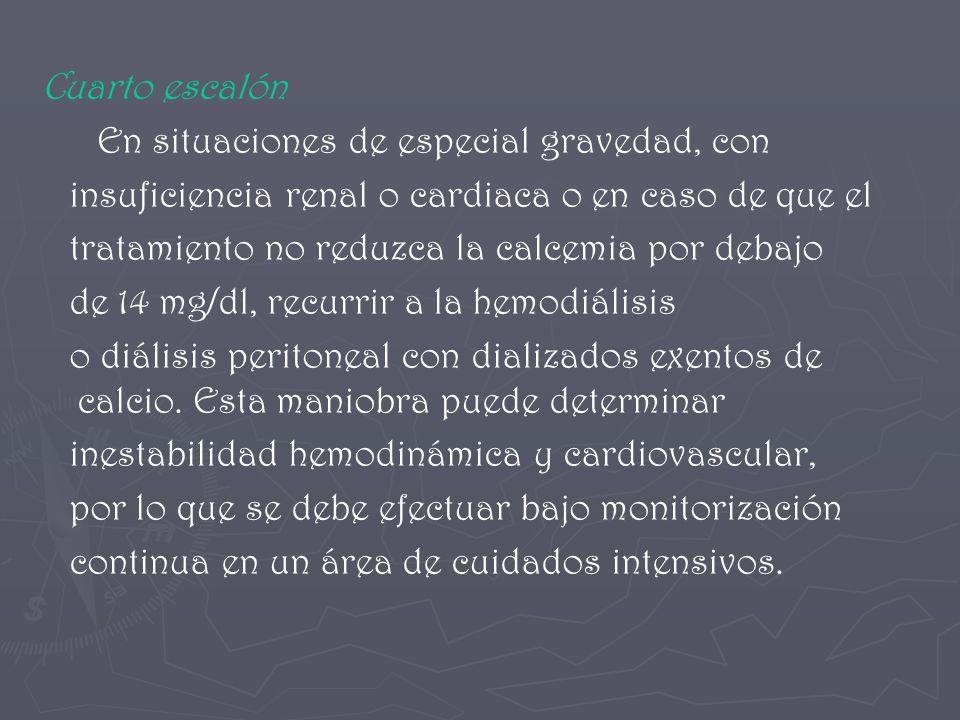 Cuarto escalón En situaciones de especial gravedad, con. insuficiencia renal o cardiaca o en caso de que el.