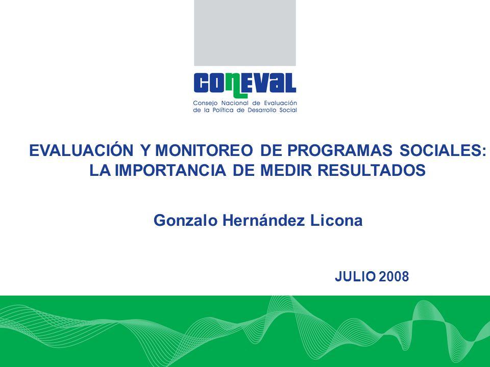 EVALUACIÓN Y MONITOREO DE PROGRAMAS SOCIALES: