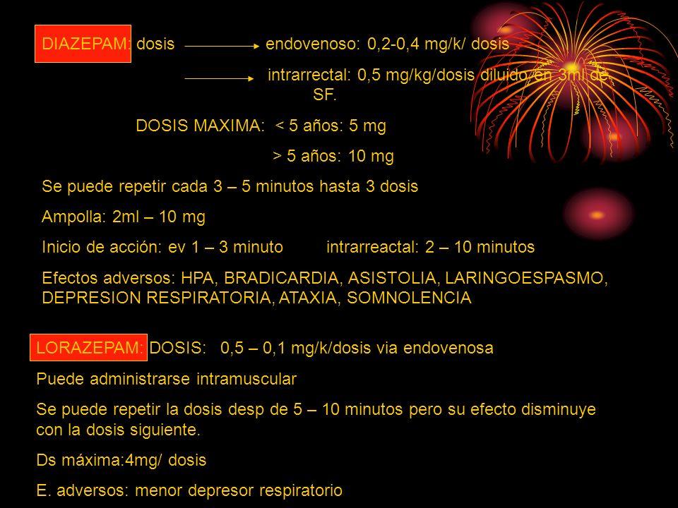 DIAZEPAM: dosis endovenoso: 0,2-0,4 mg/k/ dosis