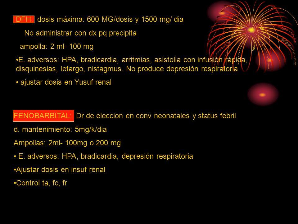 DFH: dosis máxima: 600 MG/dosis y 1500 mg/ dia