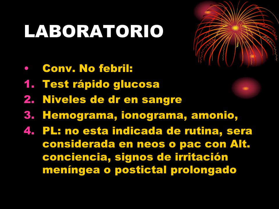 LABORATORIO Conv. No febril: Test rápido glucosa