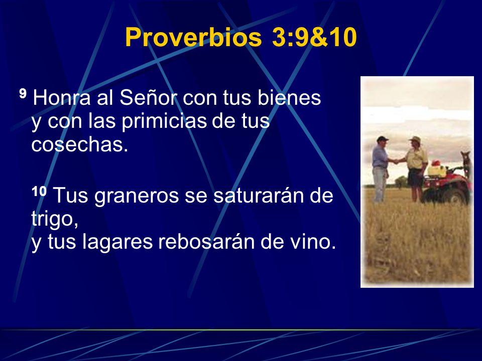 Proverbios 3:9&10 9 Honra al Señor con tus bienes y con las primicias de tus cosechas.