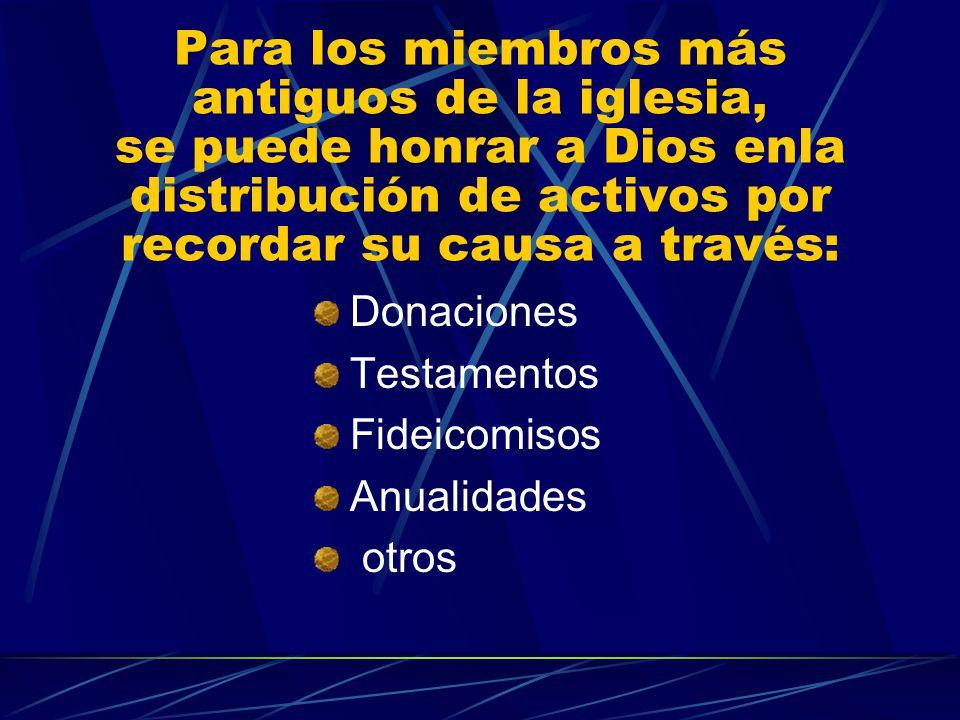 Para los miembros más antiguos de la iglesia, se puede honrar a Dios enla distribución de activos por recordar su causa a través: