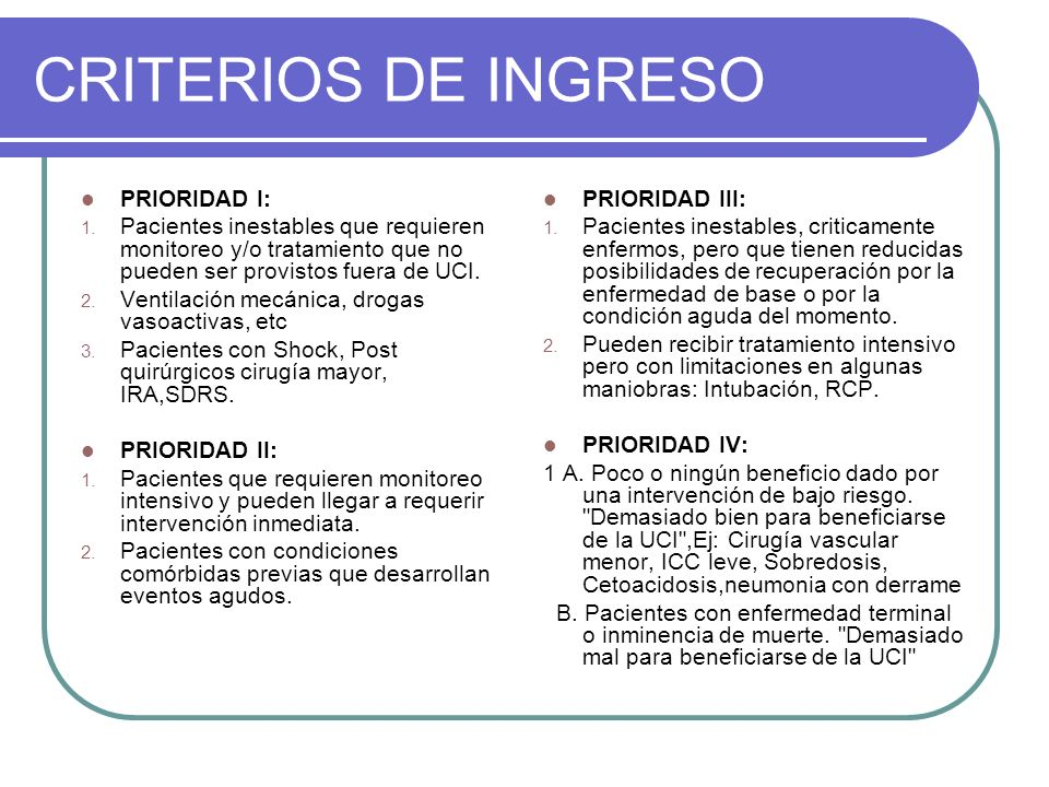 CRITERIOS DE INGRESO PRIORIDAD I: