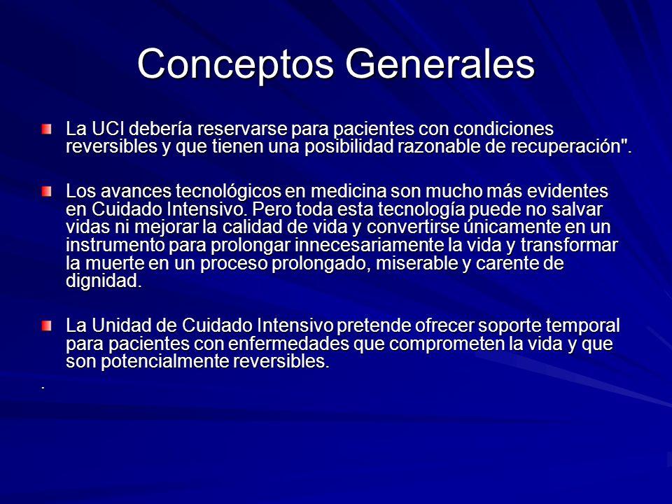 Conceptos Generales La UCI debería reservarse para pacientes con condiciones reversibles y que tienen una posibilidad razonable de recuperación .