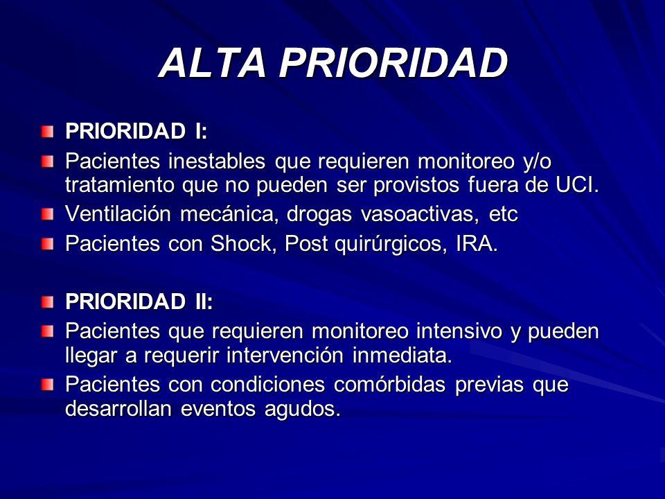 ALTA PRIORIDAD PRIORIDAD I: