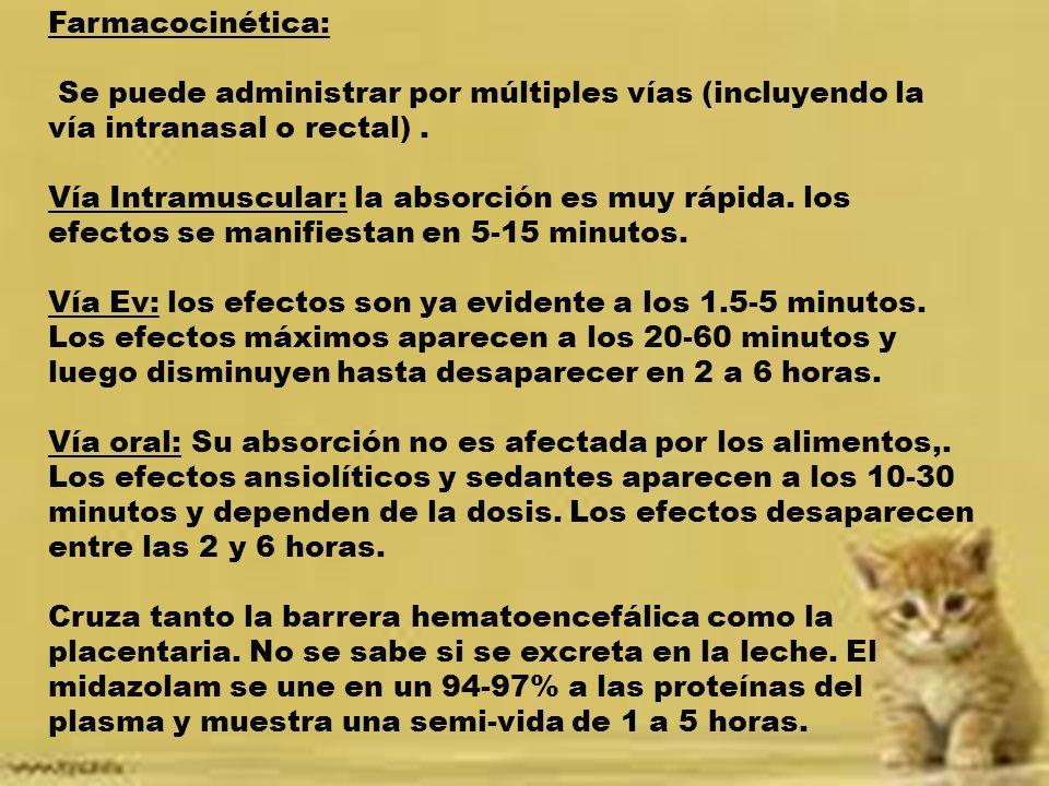 Farmacocinética: Se puede administrar por múltiples vías (incluyendo la vía intranasal o rectal) .