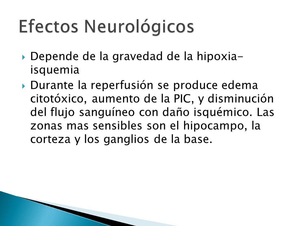 Efectos Neurológicos Depende de la gravedad de la hipoxia- isquemia