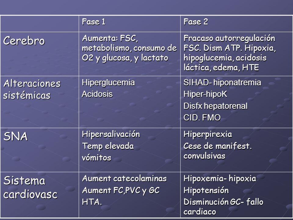 Cerebro SNA Sistema cardiovasc Alteraciones sistémicas Fase 1 Fase 2