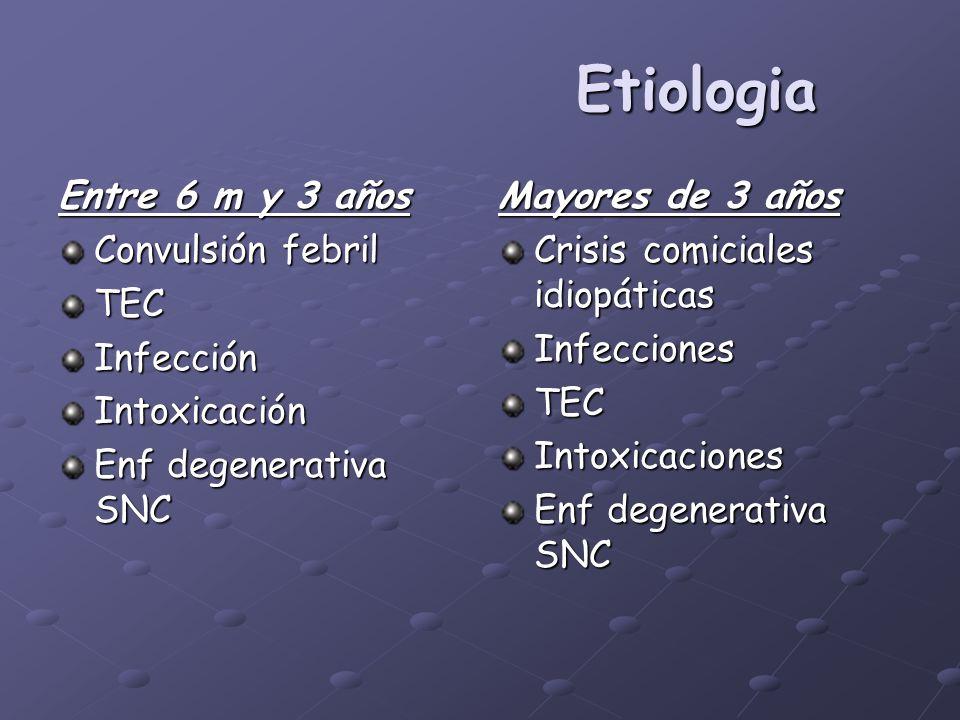 Etiologia Entre 6 m y 3 años Convulsión febril TEC Infección