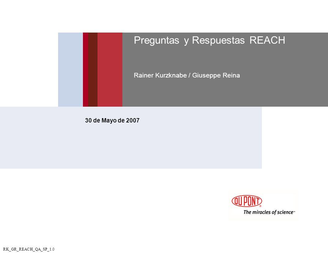 Preguntas y Respuestas REACH Rainer Kurzknabe / Giuseppe Reina