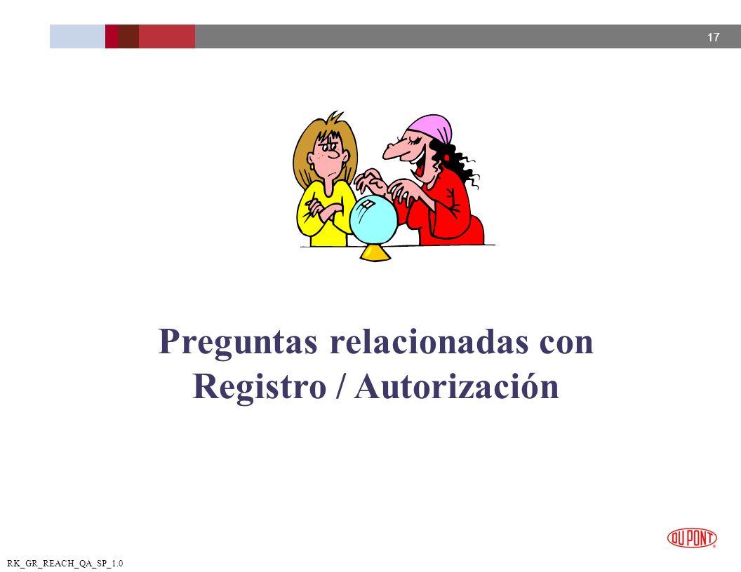 Preguntas relacionadas con Registro / Autorización