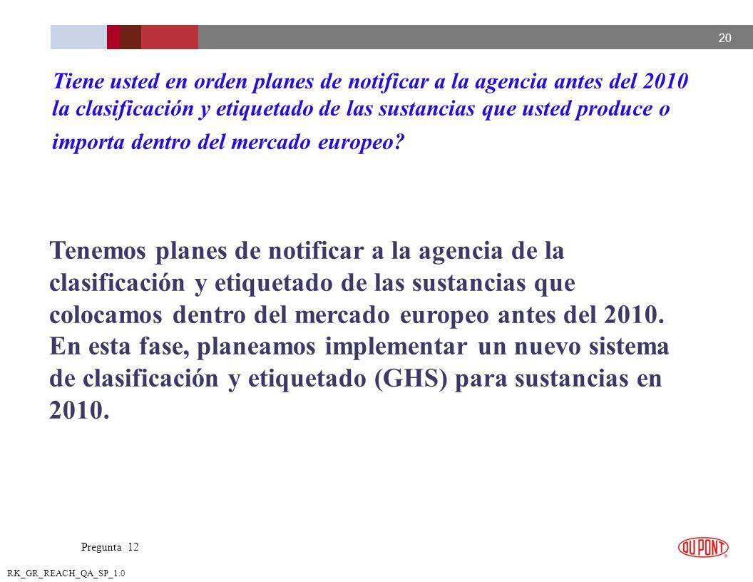 Tiene usted en orden planes de notificar a la agencia antes del 2010 la clasificación y etiquetado de las sustancias que usted produce o importa dentro del mercado europeo