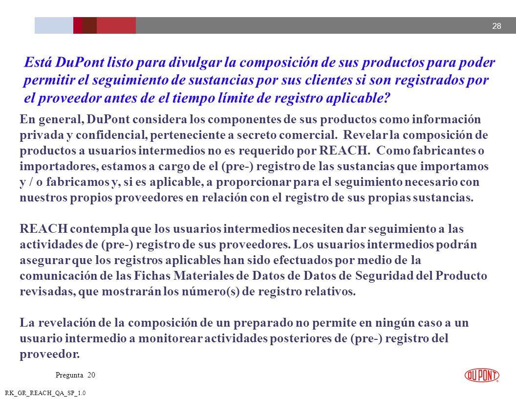 Está DuPont listo para divulgar la composición de sus productos para poder permitir el seguimiento de sustancias por sus clientes si son registrados por el proveedor antes de el tiempo límite de registro aplicable