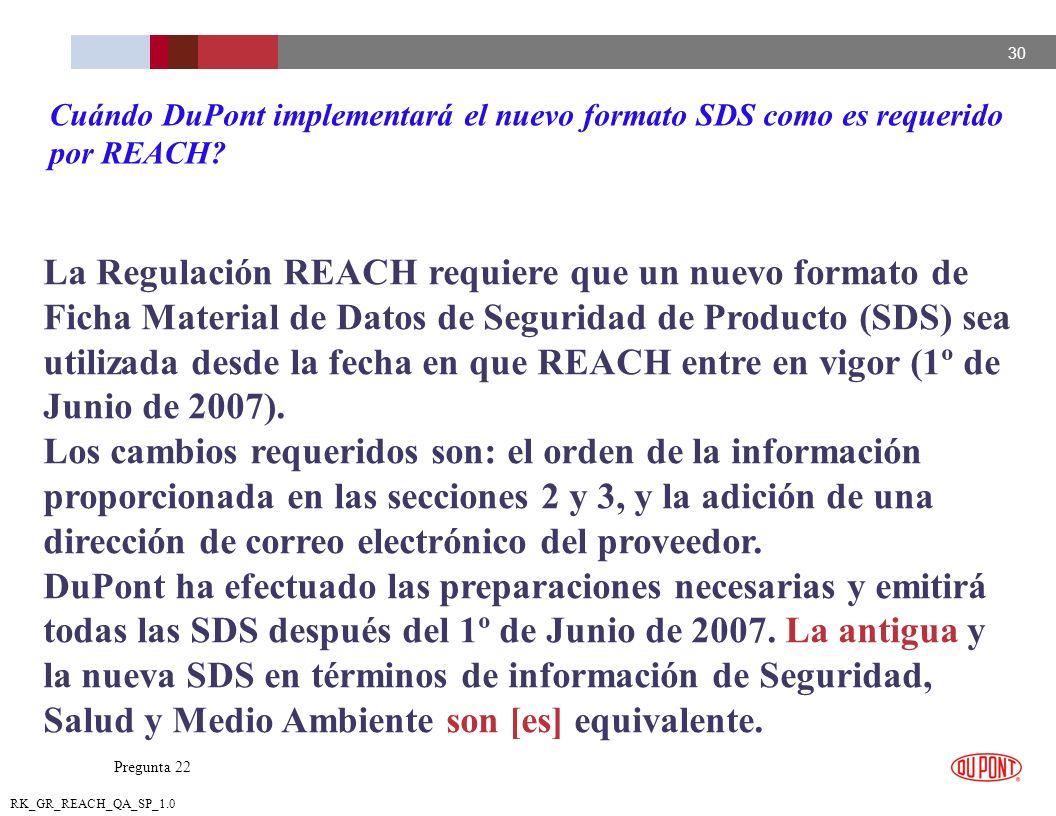 Cuándo DuPont implementará el nuevo formato SDS como es requerido por REACH