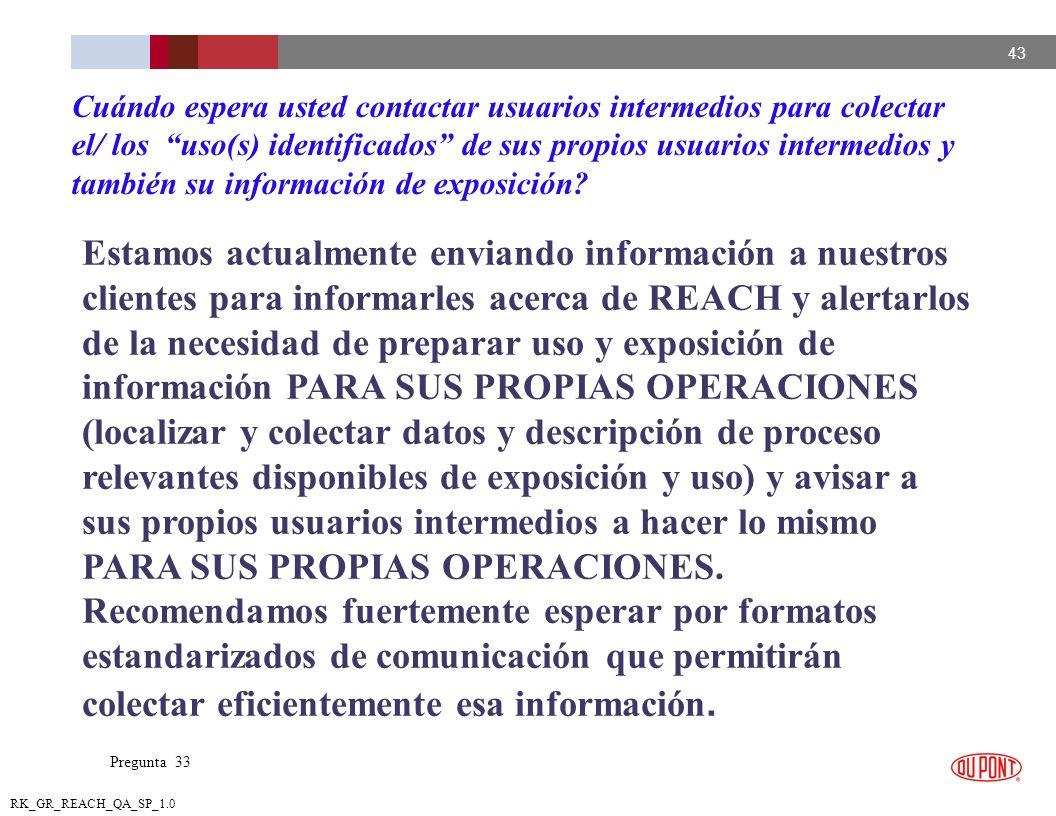 Cuándo espera usted contactar usuarios intermedios para colectar el/ los uso(s) identificados de sus propios usuarios intermedios y también su información de exposición