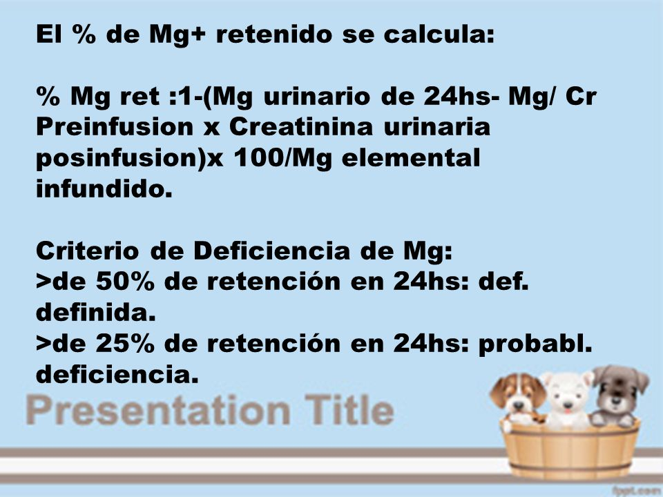 El % de Mg+ retenido se calcula: