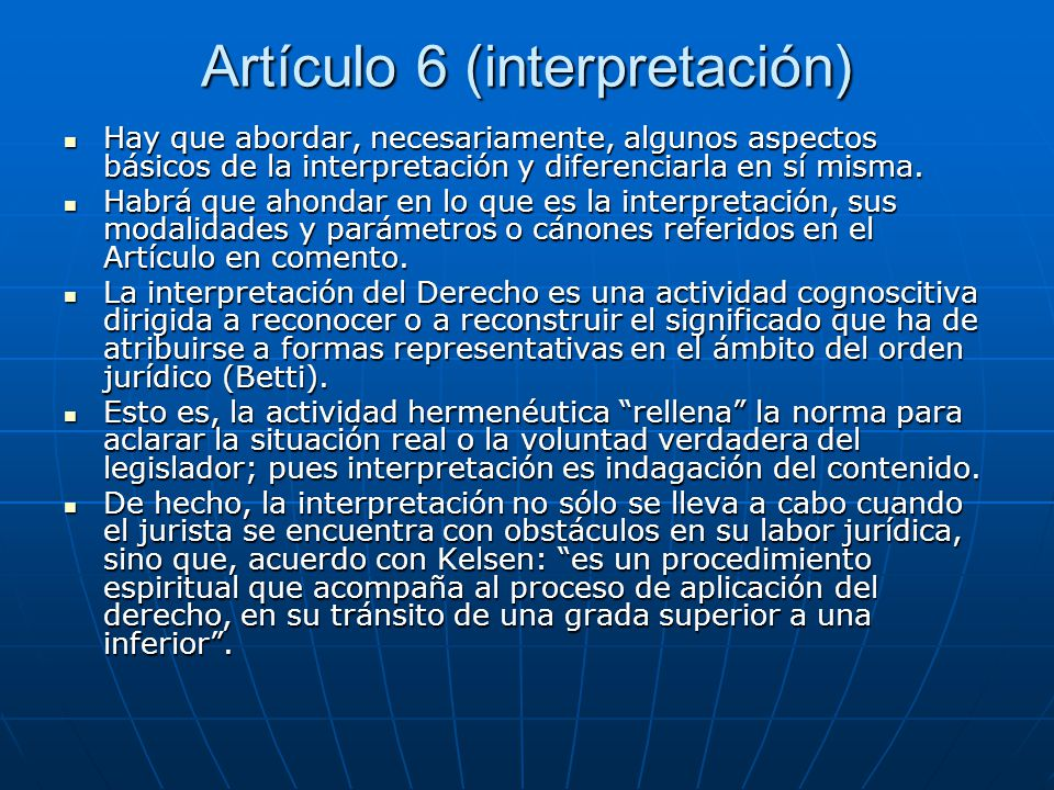 Artículo 6 (interpretación)