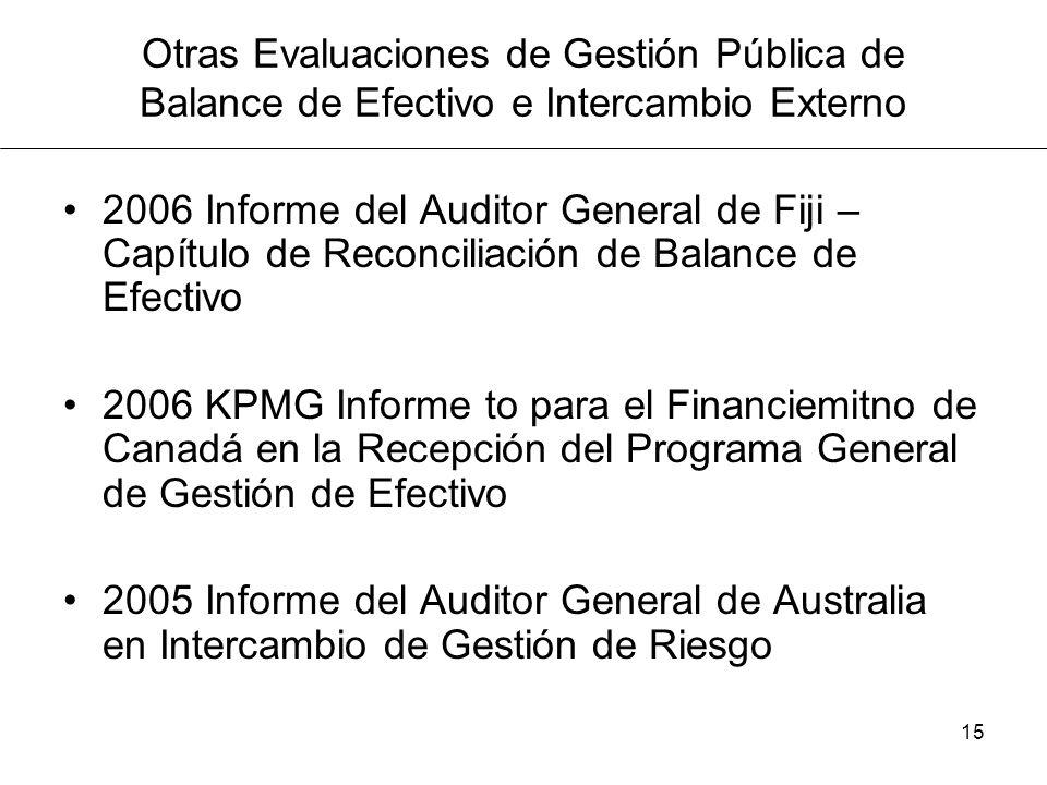 Otras Evaluaciones de Gestión Pública de Balance de Efectivo e Intercambio Externo