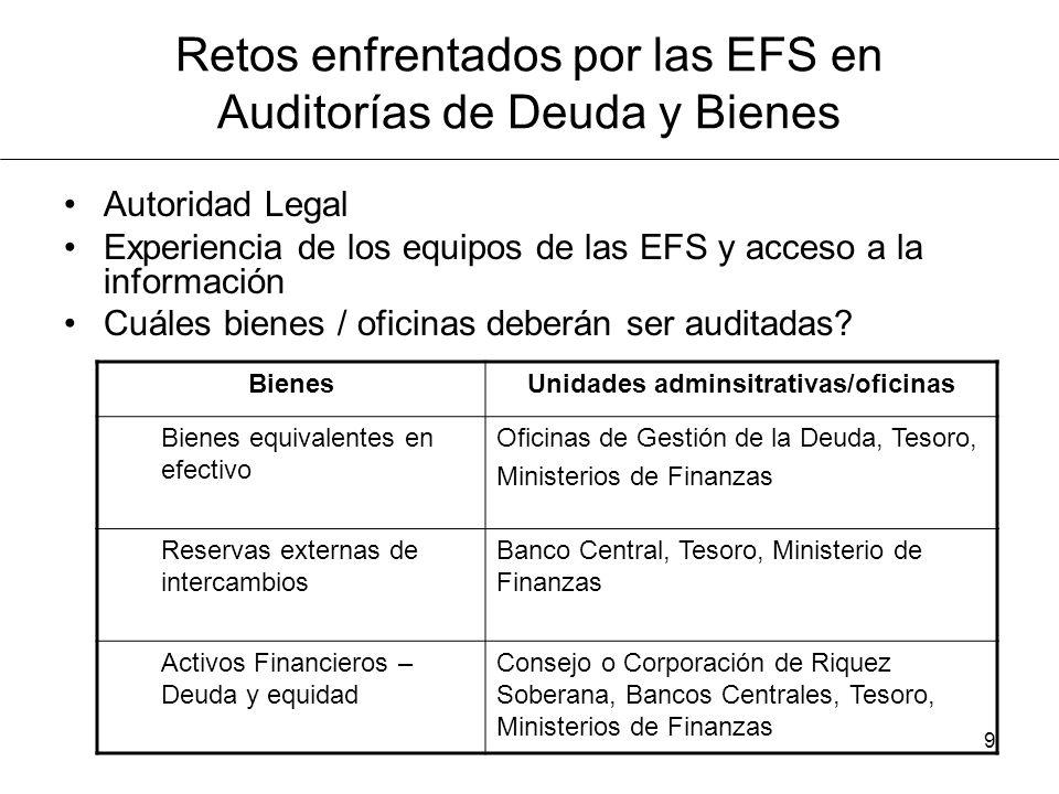Retos enfrentados por las EFS en Auditorías de Deuda y Bienes