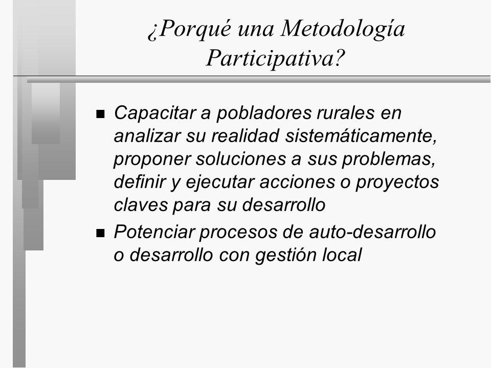 ¿Porqué una Metodología Participativa