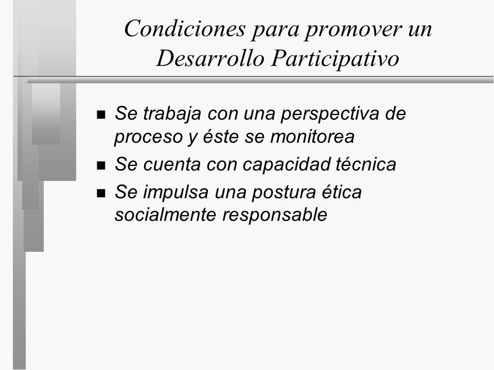 Condiciones para promover un Desarrollo Participativo