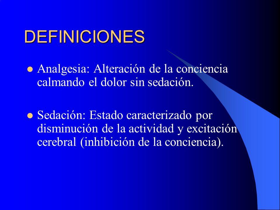 DEFINICIONESAnalgesia: Alteración de la conciencia calmando el dolor sin sedación.