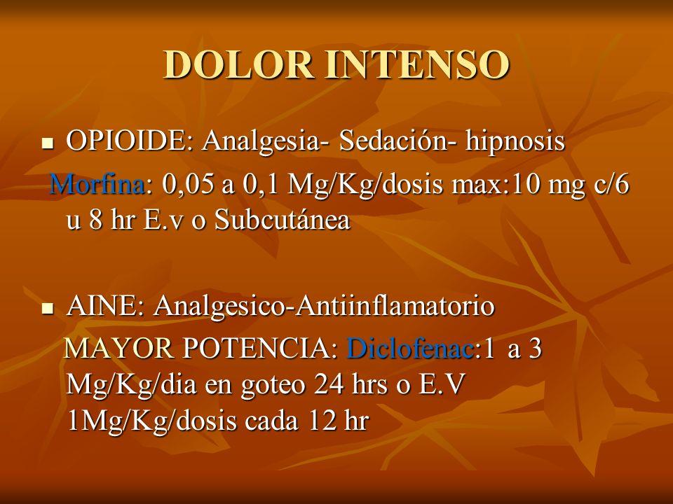 DOLOR INTENSO OPIOIDE: Analgesia- Sedación- hipnosis