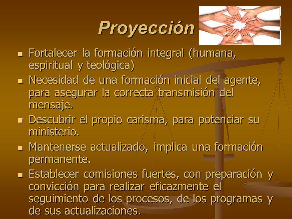 Proyección Fortalecer la formación integral (humana, espiritual y teológica)