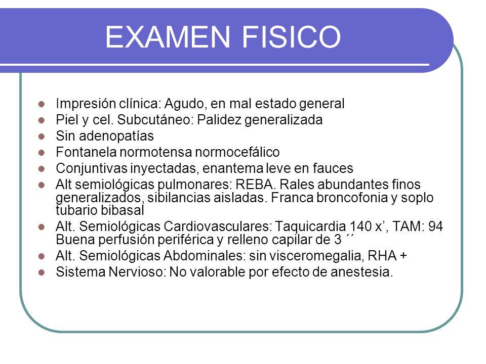 EXAMEN FISICO Impresión clínica: Agudo, en mal estado general